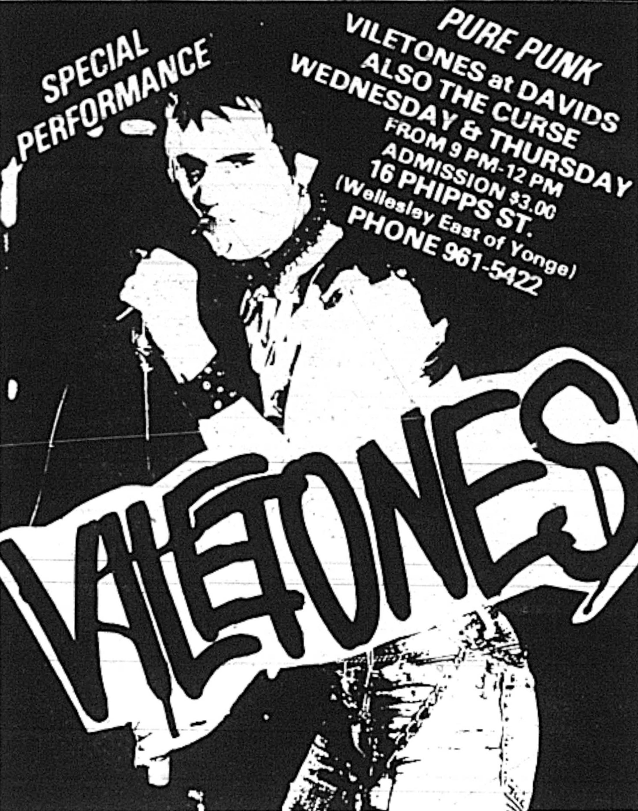 Advertisement for punk band Viletones playing at David's, Sandy LeBlanc's club