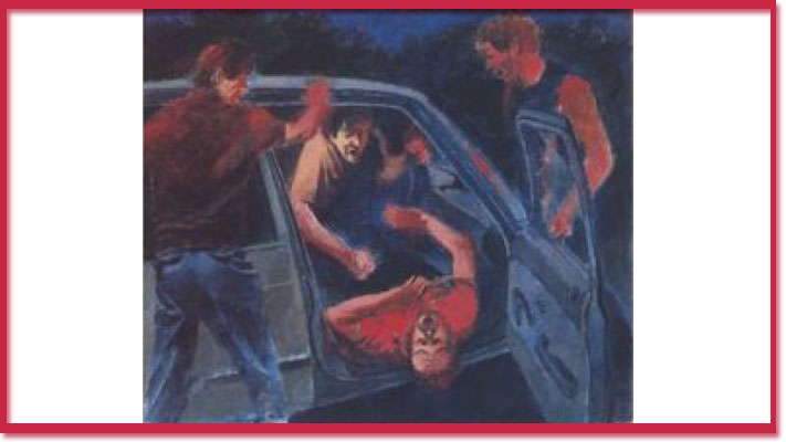 Drawings of attack for Toronto Life article Gay Bashing in High Park April 1986