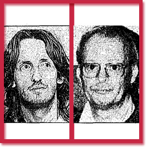 Black and white photo of murder victims Clayton Russell and John Clarke